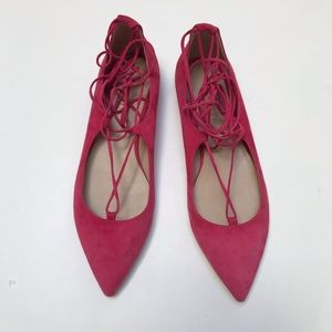 M. Gemi Pink Suede Lace Up Shoes
